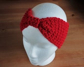 Crochet | Hair Band | Head Band | Hand Made | Wool | Bright | Red