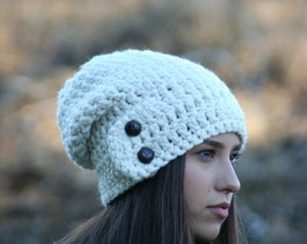 Slouchy Beanie Hat With Two Buttons Chunky Crochet Warm Winter Hat THE DARTMOOR Fisherman