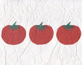 Tomatoes, Paper Collage, 8x10 Mixed Media, Fruit, Kitchen Decor, Art & Collectibles, Christmas Earthspalette