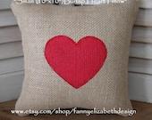 Mini Valentine Pillow- Valentine's Day- Valentine Gift- Valentine's Day Gift-  Burlap Pillow- Heart Pillow-Burlap Heart Pillow
