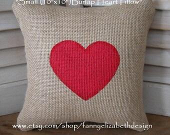 "Sm.(10""x10"") Heart Pillow-Valentine Pillow-Valentines Day-Valentine Gift-Valentine's Day Gift-Burlap Pillow-Heart Pillow-Burlap Heart Pillow"