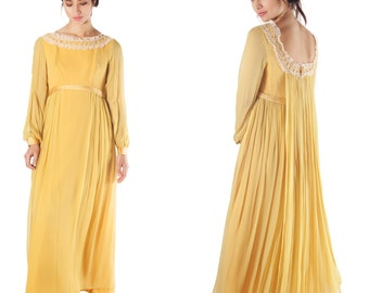 vintage 70s dress maxi floor length bridesmaid evening boho sheer chiffon balloon long sleeve mustard yellow medieval floor length  dress
