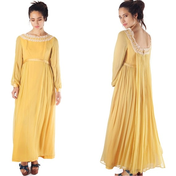 vintage 70s dress maxi floor length bridesmaid evening boho sheer chiffon balloon long sleeve mustard yellow medieval floor length  dress