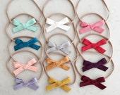 Cotton Bow - Hand Tied Bow - nylon headband or hair clip