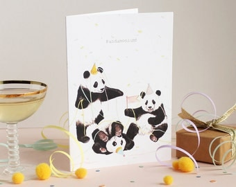 Pandamonium Greetings Card