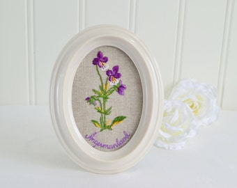 "Oval framed linen embroidery , vintage Swedish satin stitch, embroidered wild pansies , angermanland symbol, 5 "" x 7 """