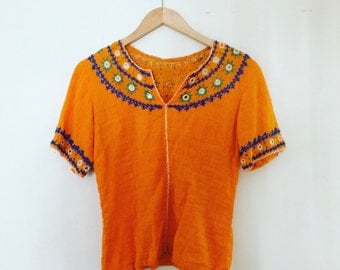 Vintage India Indian Ethnic  Embroidered  Woven Cotton Top Blouse
