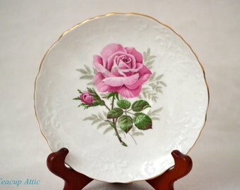 Aynsley White Textured Replacement Saucer With Large Pink Rose, Bone China Replacement Dinnerware, ca. 1939