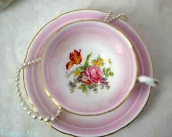 RESERVED Royal Grafton Pink Teacup and Saucer, English Bone China Tea Cup And Saucer Set, Replacement China, Tea Party, ca. 1950-