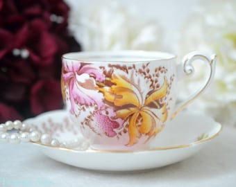 Bell Orchids Teacup and Saucer,  English Bone China Tea Cup Set, ca. 1949