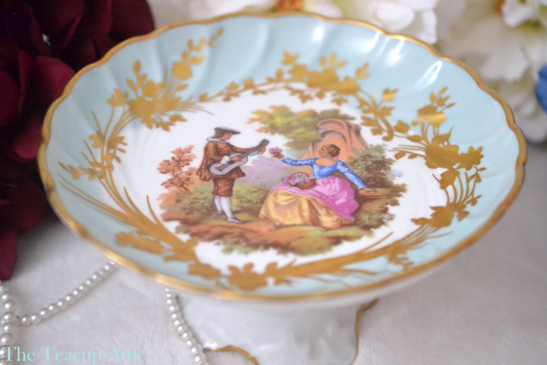 Limoges Vintage French Porcelain Pedestal Dish, Dresser Courting couple