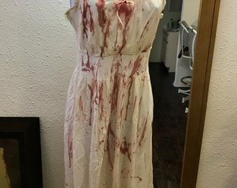 Bloody Sexy Sheer Vintage 50's Nightgown. Tattered and Bloodied Zombie Bombshell, Bloody Mary, Vampire, Psycho, Dead Girl. Adult S/M