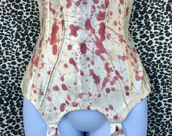 Vintage Upcycled Blood Splattered Corset Garter Belt Girdle. Ivory Satin. Zombie, Dead, Vampire, Psycho, Bloody Sexy Costume. S/M