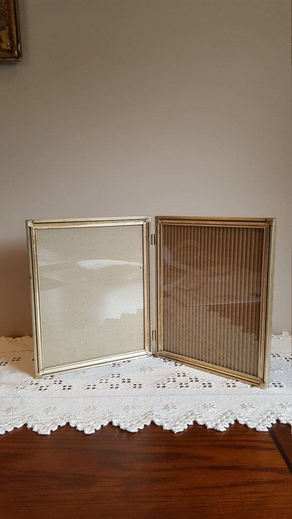 vintage gold picture frame double 8 x 10 metal frame stand up frame mid century home decor from luluandgandore on etsy studio