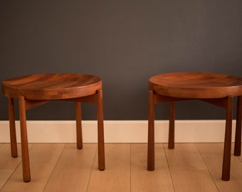 Mid Century Staved Teak Dux End Tables