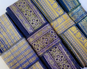 Vintage Blue Purple Mauve Sari borders, SR92