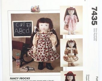 "UNCUT McCall's Crafts 7435 18"" Doll Clothes Sewing Pattern Dress Pinafore Coat Hat Tights Boots Headband"