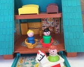 Vintage Fisher Price A Frame House Little People Chalet Vacation Home Play Family A Frame With Some Accessories 1974 - 1976