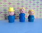 Vintage Fisher Price Little People Blue Family Little People Cowboy, Little People Blue Mom, Little People Blue Girl  All Wood