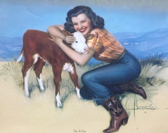 "Vintage Rolf Armstrong Pin Up Calendar Art ""Take It Easy"" from his Cowgirl Series for Brown and Bigelow  Cowgirl Hugging Calf  14"" x 12.5"""