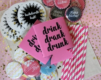 All Inclusive Bachelorette Party Kit - Bachelorette Favors - Bachelorette Buttons- Bride Tribe