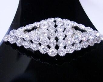 Art Deco Rhinestone Pot Metal Dress Buckle / 1930s / Vintage Jewelry / Jewellery / CIJ Sale 20% Off Coupon Code (CIJSALE1)