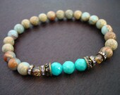 Women's Anti-Anxiety Mala Bracelet // African Opal & Amazonite Mala Bracelet // Yoga, Buddhist, Meditation, Jewelry