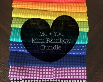 Indah Batiks - Mini Rainbow Half Yard Bundle - Me + You for Hoffman Fabrics - MYMINIHY - 11 prints