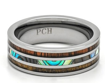 Deer Antler Tungsten Wedding Band with Koa Wood and Abalone Inlay Ring 8mm