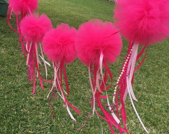 Tulle garland with hanging ribbons , jewels and chains for birthday parties , baby showers, photo props and more