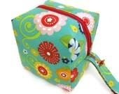 KNITTING PROJECT BAG - Sock Cube, Zippered Box Bag, Teal Flowers, Zippered Project Bag, Handmade, Knitting Bag, Crochet, Sock Bag, Hat Bag