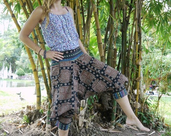 Thai Tribe pants, Cotton, Black and Brown square pattern, Hmong Hill Tribe Style