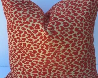 Leopard Red Tan 20X20 Home Decor Pillow Throw Pillow