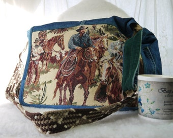 Western Purse, Cowboy Purse, Cowboy Messenger, Western Bag, Cowboys and Denim Shoulder Bag,Upcyled Recycled Repurposed Purse BagAgain