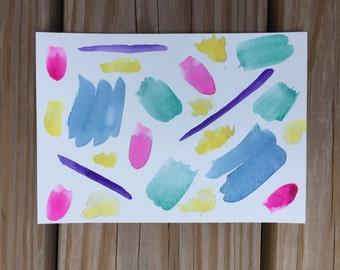 Abstract original watercolor painting 5x7 art print