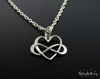 infinity heart. infinity heart necklace sterling silver best friends gift sisters pendant