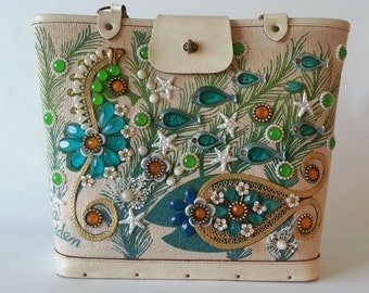 SUMMER SALE!!!  1960's Enid Collins 'Sea Garden' Bucket Handbag