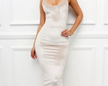 "Glamzam New Womens Ladies ""Marnel"" Sleeveless Scoop Neck Bodycon Cream Velvet Velour Pencil Midi Dress"