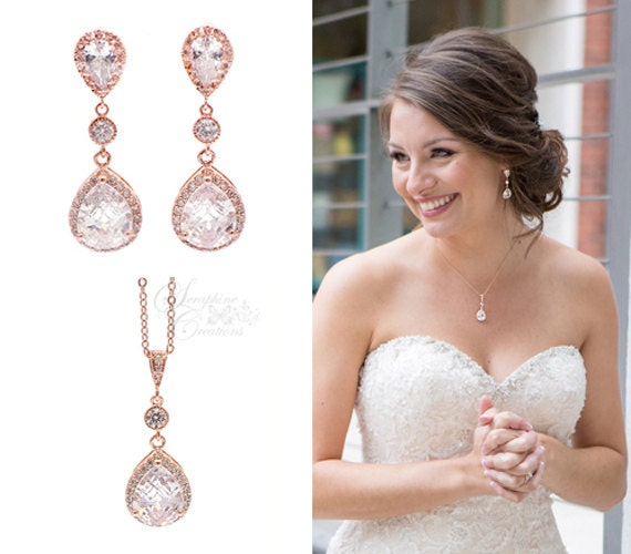 Rose Gold Bridal Jewelry Set Earrings Necklace Wedding Jewelry