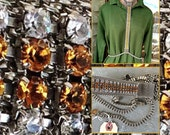 Sparkling amber and clear huge rhinestone necklace body jewelry style vintage assemblage 1950s runway statement jewelry