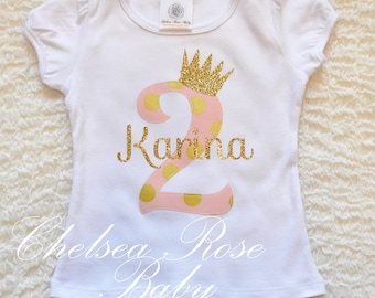 Pink and Gold Birthday shirt, Personalized Birthday shirt, Birthday outfit, Baby First Birthday Shirt, 1st Birthday outfit, Pink Gold
