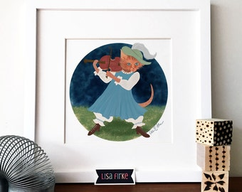 Cat and the Fiddle nursery art print
