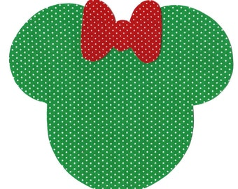 Minnie or Mickey Mouse applique with bow - iron on DIY