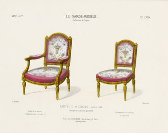 French Interior Design Print of Chairs by Guilmard Paris c1866. Original Antique Hand colored Lithograph of Louis XVI Armchair and Chair.