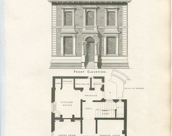 Antique Architecture Print. Design for A Small Villa Date C1855. Detailed Elevation and Plan. Perfect Antique Gift For Architect or Builder