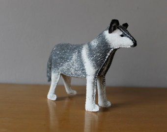 Hand painted Grey Wolf Plush