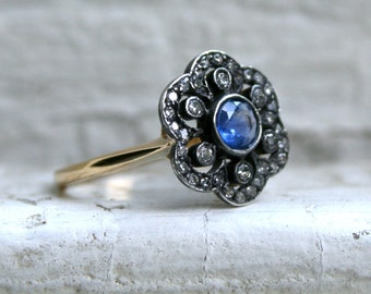 Antique 15K Yellow Gold Scalloped Diamond Halo and Sapphire Engagement Ring - 1.29ct.