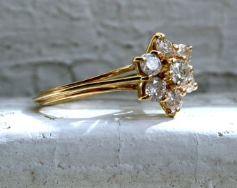 Vintage 18K Yellow Gold Diamond Cluster Engagement Ring - 0.84ct.