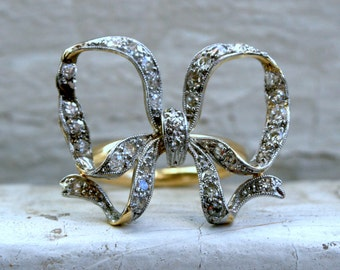 RESERVED - Large Antique 18K Yellow Gold/ Platinum Diamond 'Bow' Ring - 0.66ct.