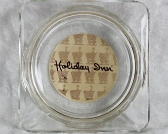 Square Holiday Inn Clear Glass Ashtray w/Screen Printing on Bottom